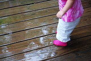 Boo Bear sock feet in the rain