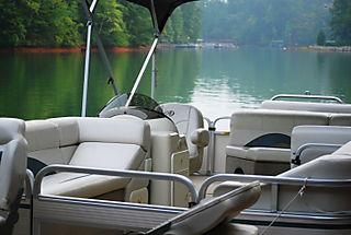 Pontoon boat and lake