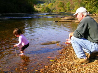 Dad and Boo Bear at the river