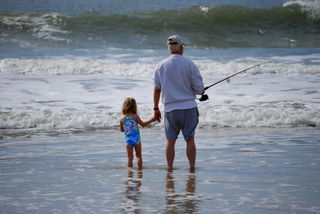 Grandpa and Owen fishing at Topsail