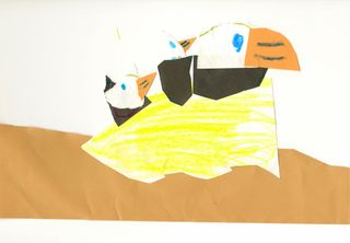 Bald Eagle babies in a nest--by Owen (crayon, marker, and paper collage)