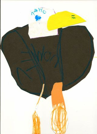 Bald Eagle dad, by Owen (paper collage, marker, and crayon)