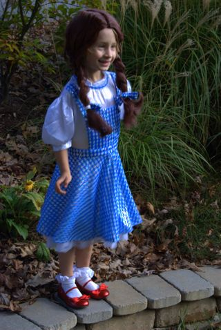 The full costume including the frighteningly Norman-Bates-like Dorothy wig