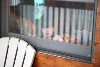 Boo Bear in the window