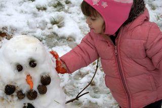 Barrett and the snow person