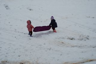 Sisters with the sled