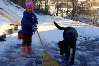 """""""Helping"""" me clean off the driveway"""