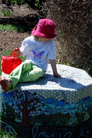 Owen on Jeannette's Bee Bench