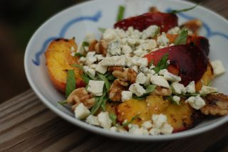 Grilled nectarine salad with basil and feta