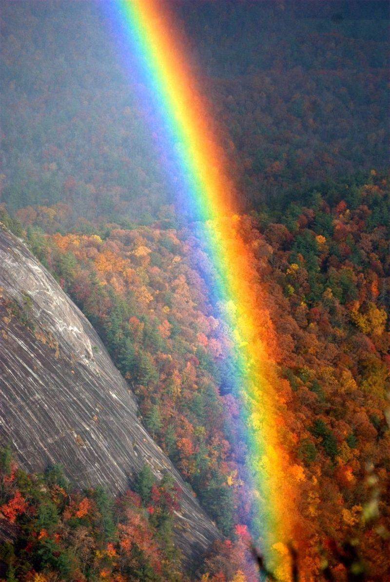 Rainbow before a rock face