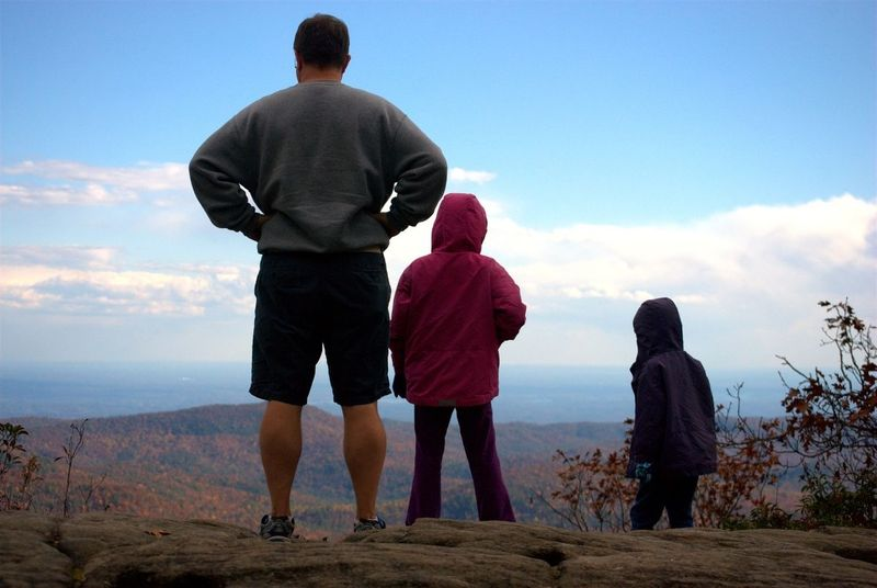 Family looking at the mountain vista