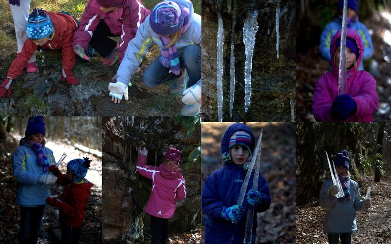 Collage of images: kids and icicles