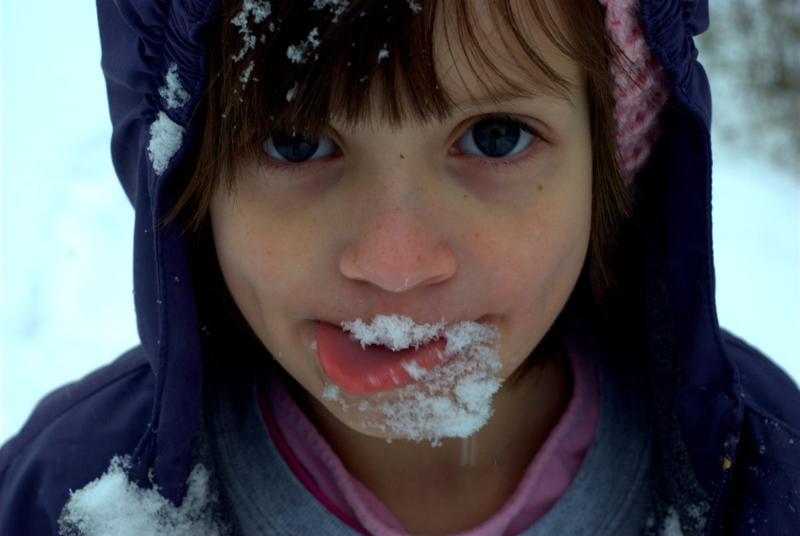 Girl with a snow beard