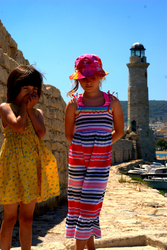 Girls at the Lighthouse at Rhythmno Harbor