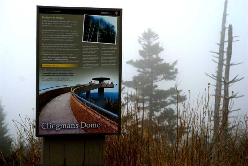 Clingman's Dome sign in fog