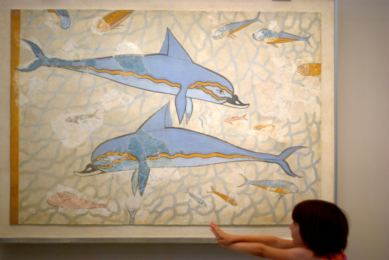 Dolphin fresco at the Archaeological Museum in Iraklio